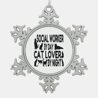 Cat Lover Social Worker Pewter Snowflake Decoration