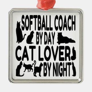 Cat Lover Softball Coach Christmas Ornament