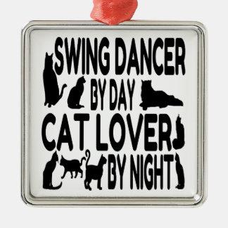 Cat Lover Swing Dancer Square Metal Christmas Ornament