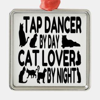 Cat Lover Tap Dancer Square Metal Christmas Ornament