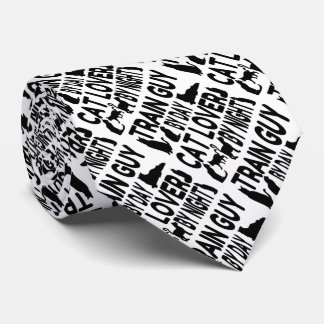 Cat Lover Train Guy Tie