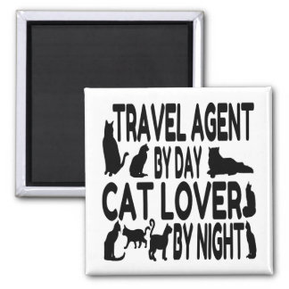 Cat Lover Travel Agent Square Magnet