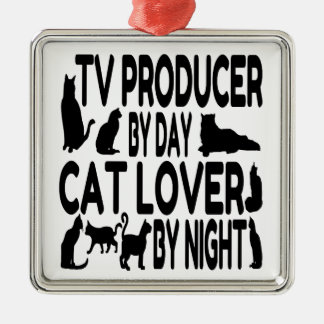 Cat Lover TV Producer Silver-Colored Square Decoration