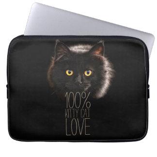 Cat Lover Typographic Black Kitty Laptop Sleeve