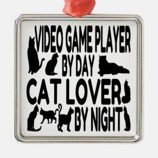 Cat Lover Video Game Player Square Metal Christmas Ornament