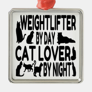 Cat Lover Weightlifter Christmas Ornament