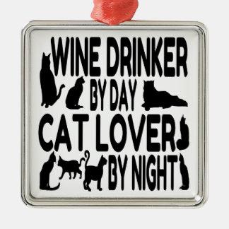 Cat Lover Wine Drinker Christmas Ornament