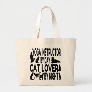 Cat Lover Yoga Instructor Large Tote Bag