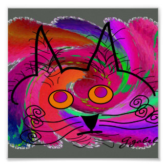 Cat Lovers Art Poster--Abstract Oil Painting Cat Poster