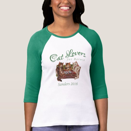 Cat Lovers for Bernie Sanders 2016 Green T-shirt