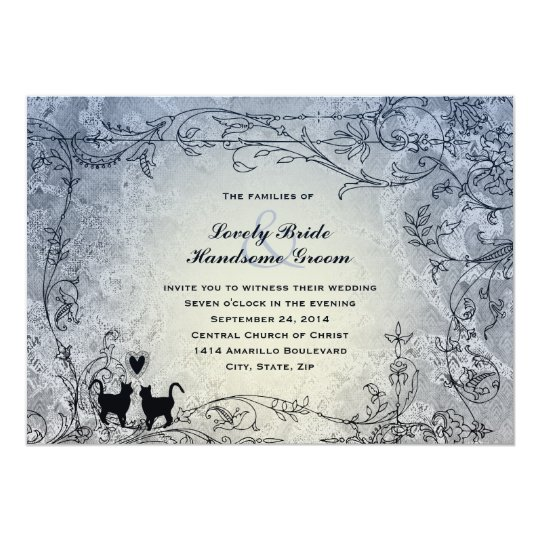 Cat Lovers Ornate Blue Vintage Wedding Invitation