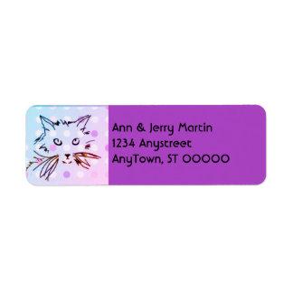 cat lovers return address label purple violet