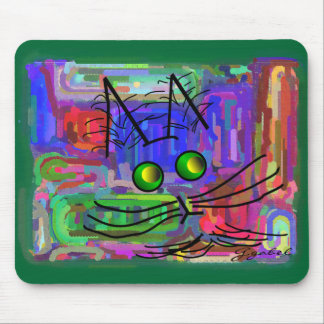 Cat Lovers The Curious Abstract Cat Art Mouse Mat