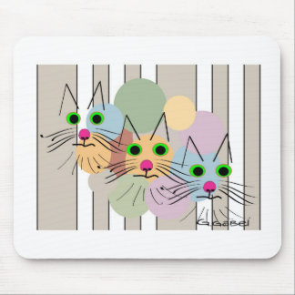 Cat Lovers Three Amigos Cat Art Mouse Pad