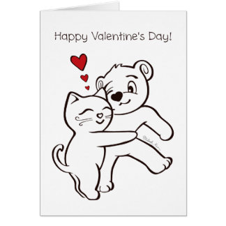 Cat Loves Bear Hug Happy Valentine's Day Card