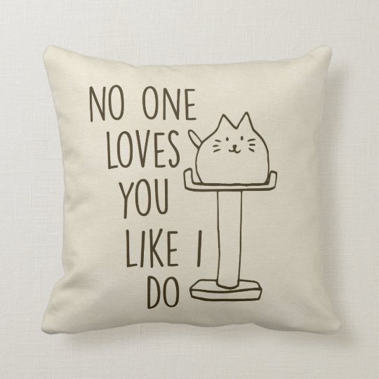 Cat Loves You Cream Throw Pillow