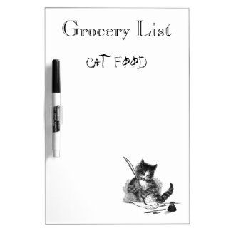 Cat Makes Grocery List Dry Erase Board