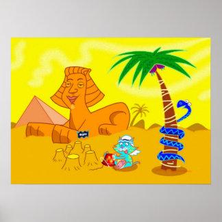 Cat making sandcastles in the desert poster