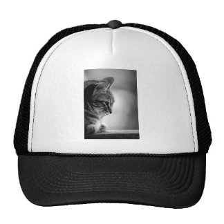 Cat Meditating Black and White Trucker Hat