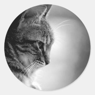 Cat Meditating Black and White Round Sticker