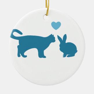 Cat Meets Bunny Round Ceramic Decoration