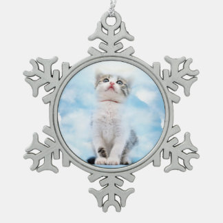 Cat Memorial Custom Pewter Snowflake Ornament