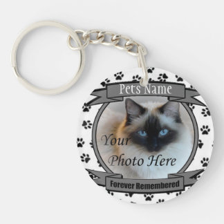 Cat Memorial - Forever Remembered - Pet Loss Cat Key Ring