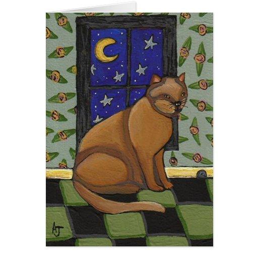 Cat, Moon & Stars - greeting card