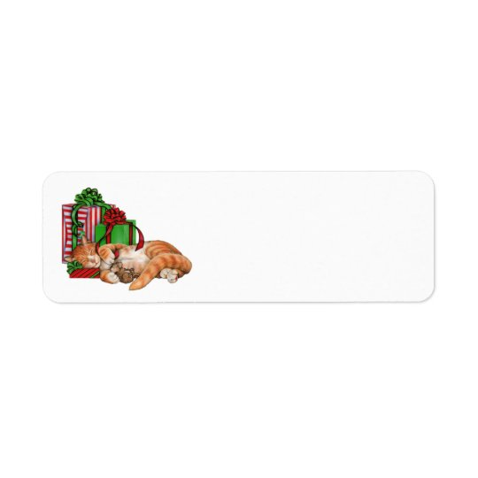 cat & mouse among christmas gifts labels
