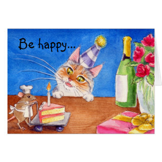 Cat mouse birthday card