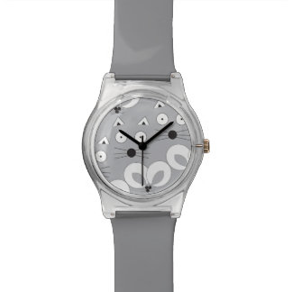 Cat & Mouse pattern grey Watches