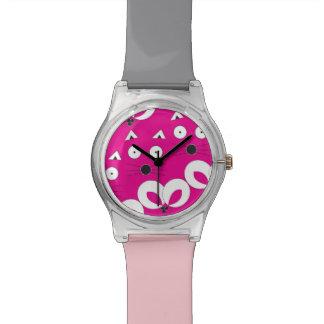 Cat Mouse Pattern Hot Pink Wristwatch