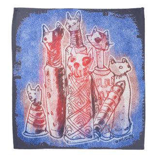 cat mummies blue bandanas