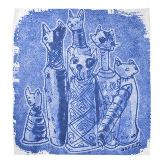 cat mummies blue head kerchiefs