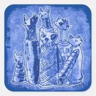 cat mummies blue square sticker