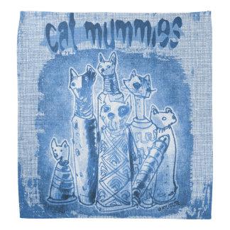 cat mummies blue tint head kerchief