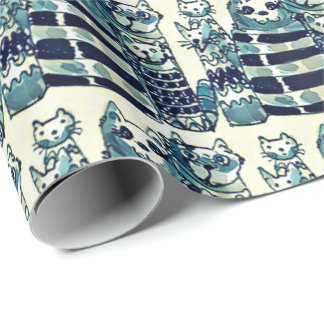 cat mummies family cartoon style vers.1 wrapping paper