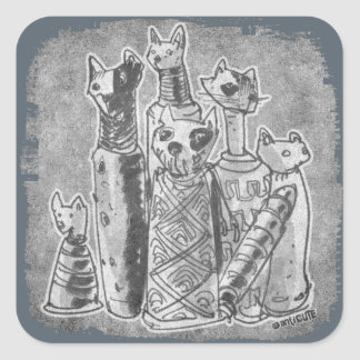 cat mummies grey without text square sticker
