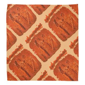cat mummies orange tiled and angled bandanna