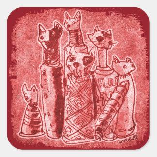 cat mummies red square sticker