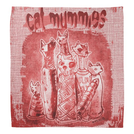 cat mummies red tint bandana