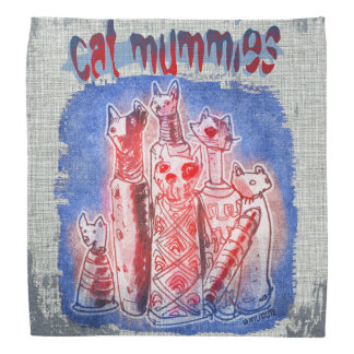 cat mummies with textured background bandannas