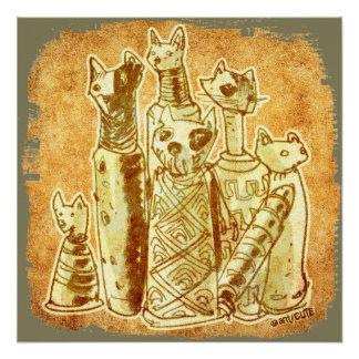 cat mummies yellow sand