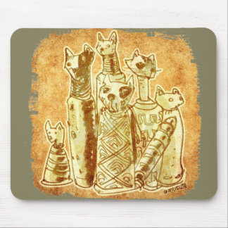 cat mummies yellow sand mouse pad
