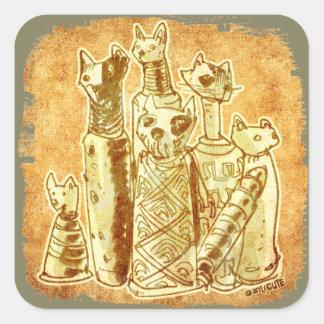 cat mummies yellow sand square sticker