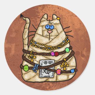 cat mummy 3 round sticker