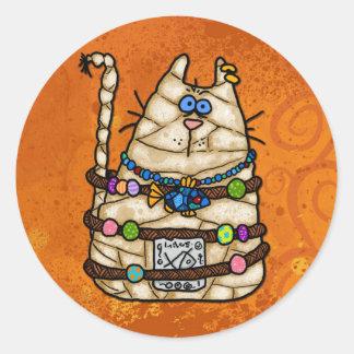 cat mummy round sticker