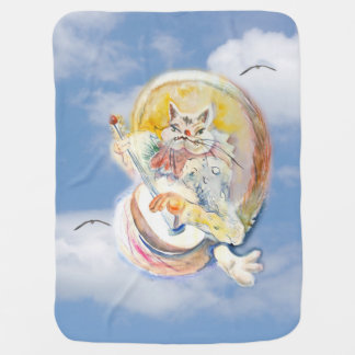 Cat Music in Clouds Baby Blanket