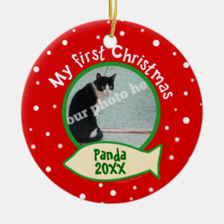 Cat My First Christmas Red and Green Pet Photo Round Ceramic Decoration