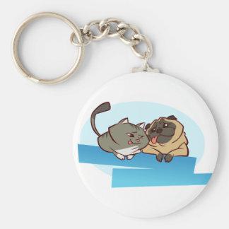 Cat n Pug Basic Round Button Key Ring
